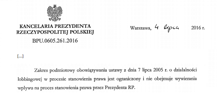 Co wiemy o lobbingu w Polsce cz. 2, czyli Prezydent ponad ustawą lobbingową