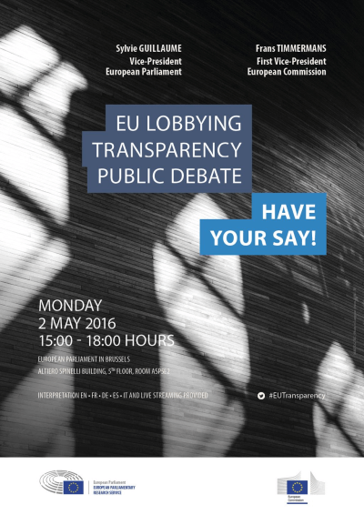 """Debata dot. przejrzystości lobbingu w UE """"Wypowiedz się!"""""""